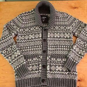 H&M Shawl Collar Men's Cardigan Grey White Small